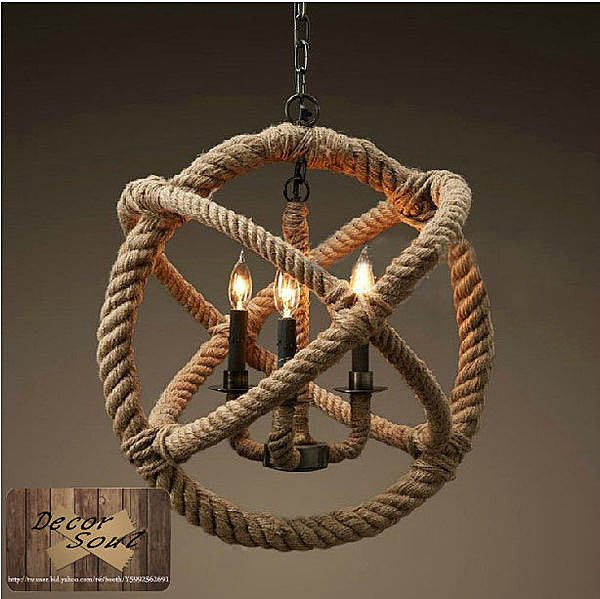 DS北歐家飾§ loft工業風 客廳餐廳咖啡廳 摩洛哥麻繩(小)吊燈 仿舊復古美式鄉村老燈 麵粉袋
