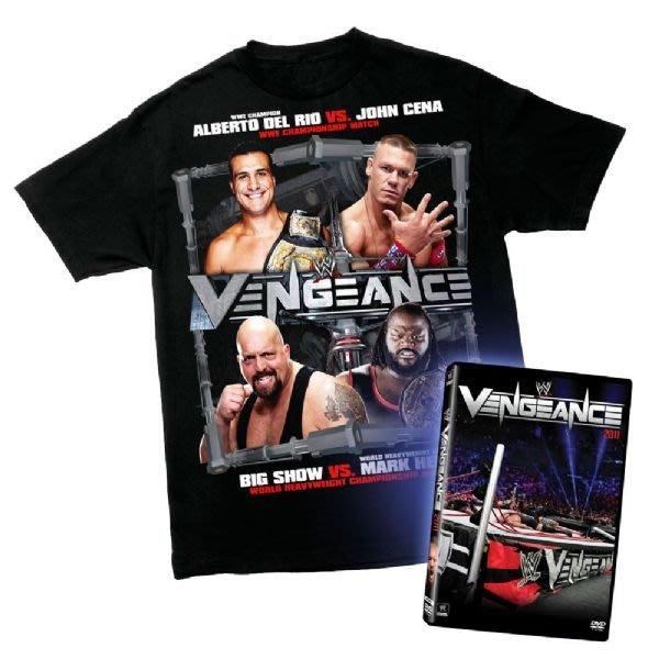 ☆阿Su倉庫☆WWE摔角 Vengeance 2011 T-Shirt/DVD Package 絕版超值組出清特價中