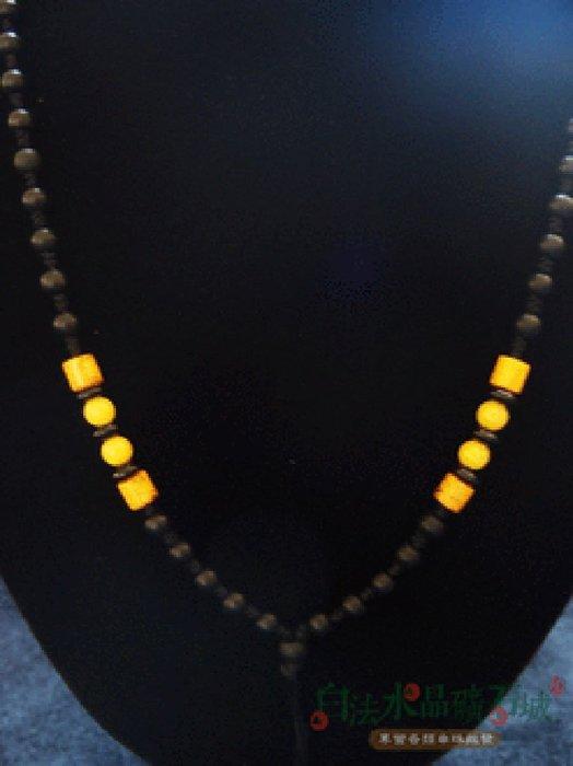 白法水晶礦石城    手工製作 黑瓷珠&木珠&金剛結&黃琉璃珠 鍊寬4*4.5mm 項圈項鍊  首飾材料