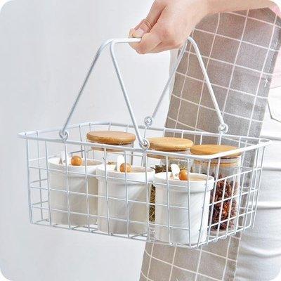 買一送一 日式鐵藝白色手提雜物收納籃 創意桌面水果收納筐儲物籃小筐子