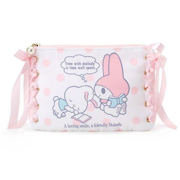 代購現貨  日本三麗鷗 甜蜜時光美樂蒂緞帶扁袋 化妝袋