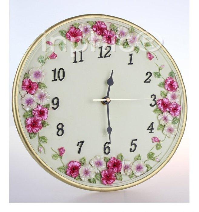 INPHIC-歐式復古三色堇田園時尚居家裝飾掛鐘室內掛鐘