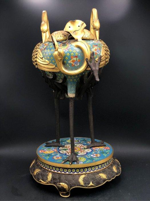 藏古院-景太蘭琺瑯大鶴爐