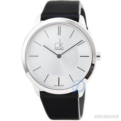 【柒號本舖】CK Calvin Klein Minimal 凱文克萊時尚皮帶男錶-銀 # K3M211C6