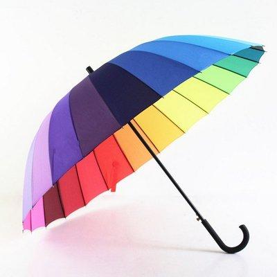 彩虹長柄雨傘雙人傘24骨自動傘創意情侶傘母子晴雨傘超大