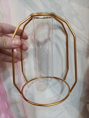 -金色幾何風玻璃試管花器----金色多邊形--