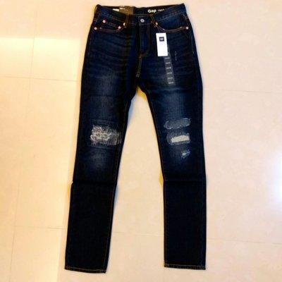 ︱Coopers︱GAP 1969 Skinny Fit 窄管深藍水洗刷色破壞補丁牛仔褲 29x32