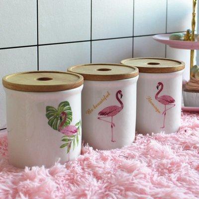 雅飲 火烈鳥陶瓷木蓋密封罐儲物罐茶葉罐干果罐收納罐