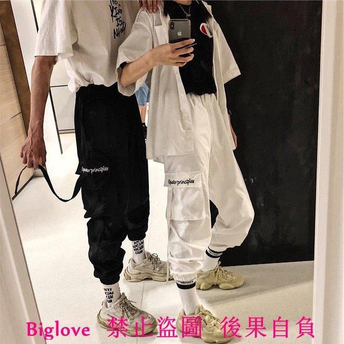 韓國復古字母刺繡飄帶大口袋束腳長褲 18AW男女款