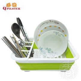 派樂 摺疊式瀝水碗籃(1入)碗盤瀝水籃架 洗菜瀝水籃 廚房收納架 摺疊收納籃 居家收納盆