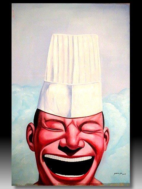 【 金王記拍寶網 】U1229  九O年代當代亞洲藝術家 岳敏君款 手繪油畫一張 ~ 罕見系列作品 稀少 藝術無價~