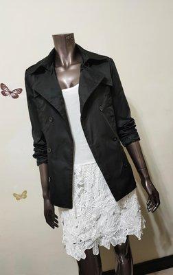 50%FIFTY PERCENT亮黑色雙排釦外套