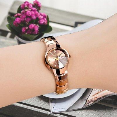 學生夜光手錶女士全自動機械錶女錶防水潮流時尚玫瑰金雙日歷