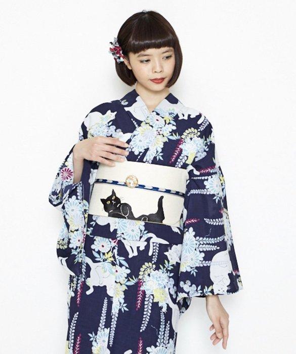 05YUKATA 日本正裝和服 傳統浴衣 嵐の貓