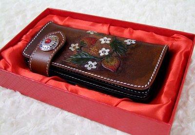 NYCT 韓國高品質限定原創 歐美熱賣頂級百搭時尚手工皮雕錢包復古民族風手拿包個性手包按扣頭層純牛皮財布