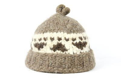 【古物箱-霹靂膠囊】日本手做 日式 民族風 圖騰 重磅毛線帽 ( 羊毛 日本製 二手.古著.vintage)