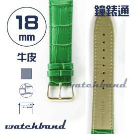 【鐘錶通】C1.50AA《霧面系列》鱷魚格紋-18mm 霧面草綠(手拉錶耳)┝手錶錶帶/皮帶/牛皮錶帶┥