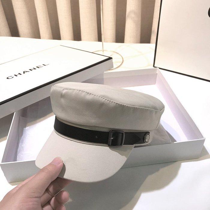 海軍貝雷帽女士時尚潮韓版英倫復古夏季薄款百搭畫家鴨舌平頂帽子
