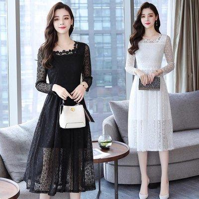 9750秋裝韓版女蕾絲連身裙中長款時尚氣質修身長袖蕾絲裙PF-3F-325 來自星星的店