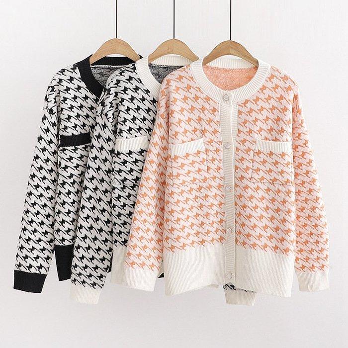 ☆紫米粒小舖☆【R55628】針織 日系森女系千鳥格長袖針織外套。(預購)