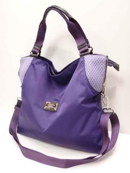 *迪奧小店*名牌BONNIE短帶手提包~肩背包~斜背包~托特包/尼龍真牛皮/輕盈萬用包/勁爆特價~美麗紫