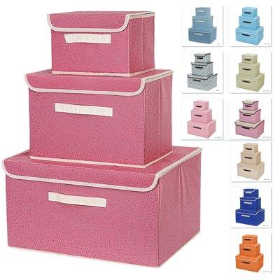 多色 新款簡約圖案 收納箱 日本 收納盒 衣物整理箱 可摺疊 儲物箱 玩具收藏 有手抽 一套三件 VANCY 加大箱 YY-SNH125
