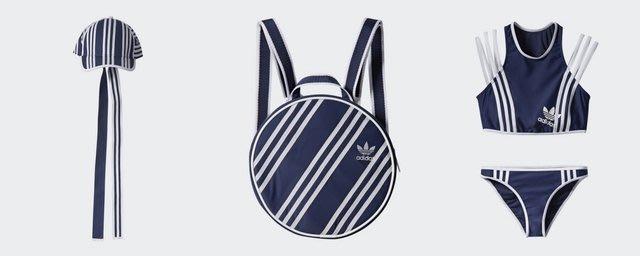 adidas Originals x Ji Won Choi 限量聯名 條紋拼接 海軍藍 圓頂尼龍後背包