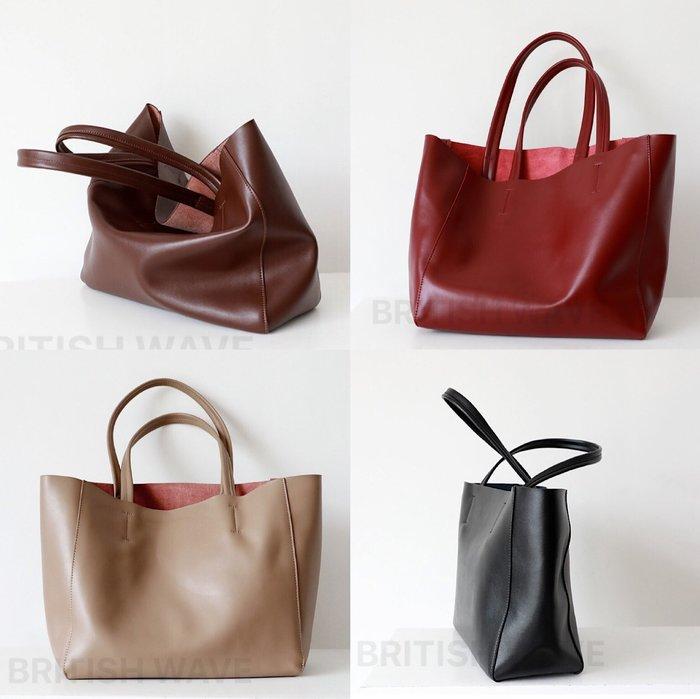 牛皮真皮 簡約質感可肩背托特包 附可拆式內袋 肩揹包/購物袋/側背包 《BRITISH WAVE》