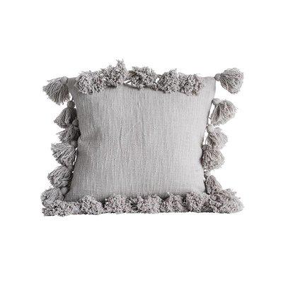 【Eze Art Deco】美國設計師傢飾,美式鄉村灰色方形流蘇抱枕 靠枕/抱枕/靠墊/枕頭/腰枕 送禮民宿擺飾居家