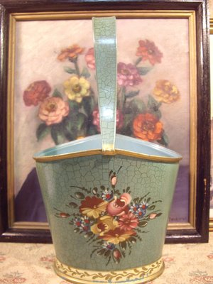 歐洲古物時尚雜貨 比利時 手工 青綠色花卉滾黃邊提桶 擺飾品 古董收藏