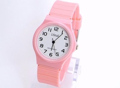 《時光流域》 Dinal  卡西歐風格超薄款清晰數字防水石英女錶/男錶(可配戴游泳) 紅/綠/粉紅