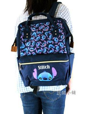 迪士尼史迪奇 Stitch1642兒童 迷你後背包書包防水尼龍布拉鍊 框式大開口 寶藍色