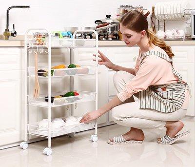 【預購】四層移動式白色收納層架,置物架廚房櫃、衛浴設備金屬層架,多功能白色推車層架,掛勾滾輪雜物收納架,輕巧窄版好省空間