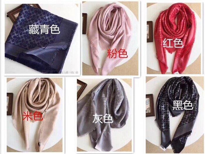 NaNa代購 COACH 圍巾 女士莫代爾真絲針織圍巾 滿版C紋 經典時尚 女神必入款 須邊設計 附購證
