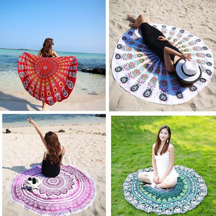 現貨 沙灘巾 圓形沙灘墊 瑜珈墊 大毛巾披肩海邊度假沙灘毯 海灘毯 防晒披肩 夏天必備 比基尼