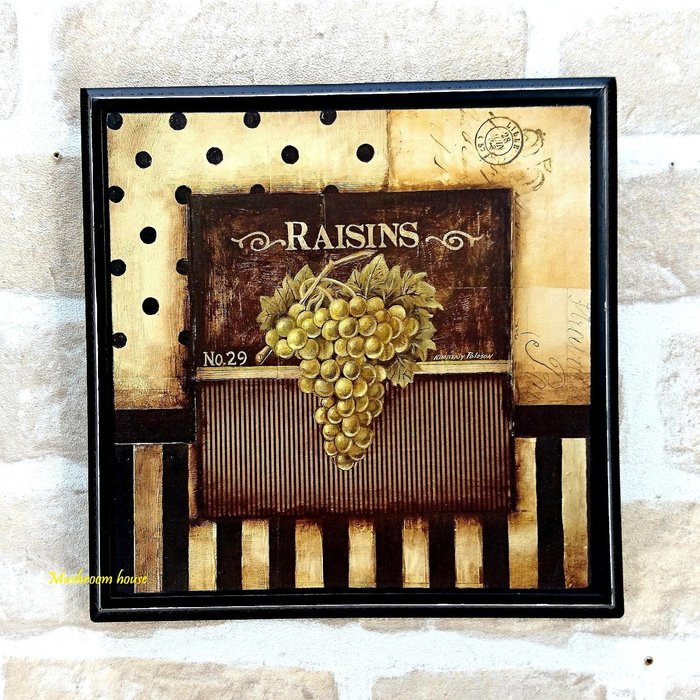 點點蘑菇屋 復古葡萄Raisin木板畫 掛畫 壁飾 木框畫 仿舊鄉村雜貨 現貨