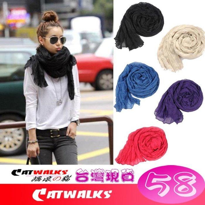 台灣現貨  * Catwalk's 搖滾の貓 * 素雅純色款自然大皺褶巴厘紗造型披肩大圍巾 ( 黑色、米色、藍色、紫色、