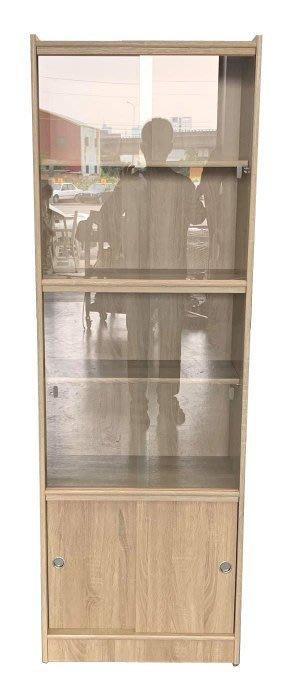【樂居二手家具】台中 EA2267AE*全新木紋玻璃書櫃*酒櫃 展示架 全新中古傢俱家電 滿千送百豐富喜悅台北新竹
