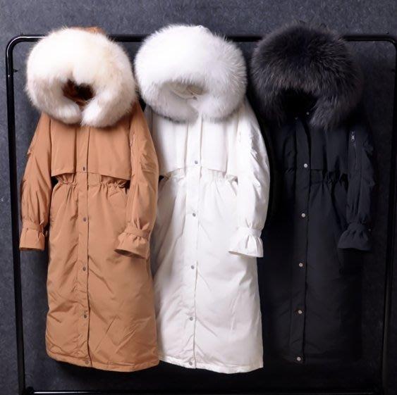 正韓東大門2018新款 巨保暖款 羽絨外套 毛領自由搭 超暖羽絨外套 真駱子毛領 長版收腰過膝羽絨外套 羽絨衣 羽絨外套
