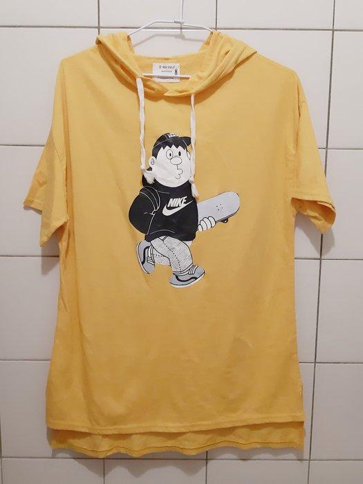 95成新 韓製 黃色棉質連帽T