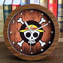 【四季居家用品】海賊王航海探險木頭鬧鐘 創意桌鐘坐時鐘表復古歐式卡通