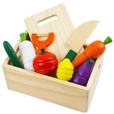 日本WOODY PUDDY蔬菜水果切切樂木盒裝~原木製~品質優◎童心玩具2館◎