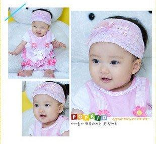 Han媽【D111】女寶寶小公主限定韓國純手工精心製作嬰兒童髮飾頭飾三環蕾絲結寬髮帶