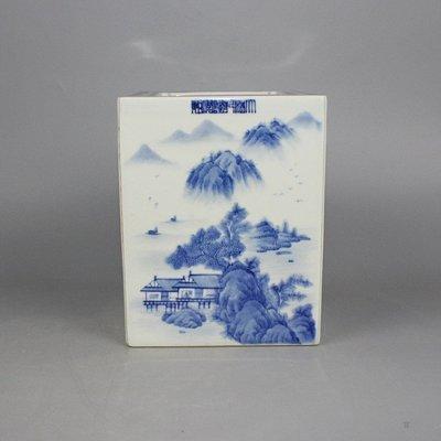 ㊣三顧茅廬㊣  清青花山水四方筆筒全手工畫精細四面工高檔瓷器古玩古董  包老