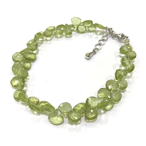 『純天然水晶量販』天然橄欖石手鍊 約5mm 水滴型 鑽石切角度 半寶石 招財 幸運 希望 情人節 生日 禮物 附禮盒