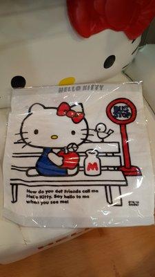 GIFT41 4165本通 三重店 Hello Kitty 凱蒂貓 蘋果 牛奶 方型毛巾 4901610459133