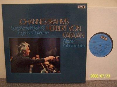 【DECCA LP名盤】1658.布拉姆斯:第1,3號交響曲,悲劇序曲,2LPs,卡拉揚/維也納愛樂