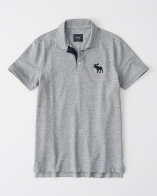 Maple麋鹿小舖 Abercrombie&Fitch * AF 灰色電繡大麋鹿POLO衫*( 現貨S號 )
