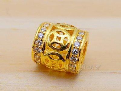 如玉坊珠寶   硬金西德古錢串珠  黃金串珠  A&&
