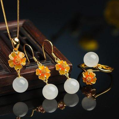 925銀  鑲嵌 白玉  圓珠戒指耳墜項墜玉套裝  正品  天然 玉石 和闐玉 三件套